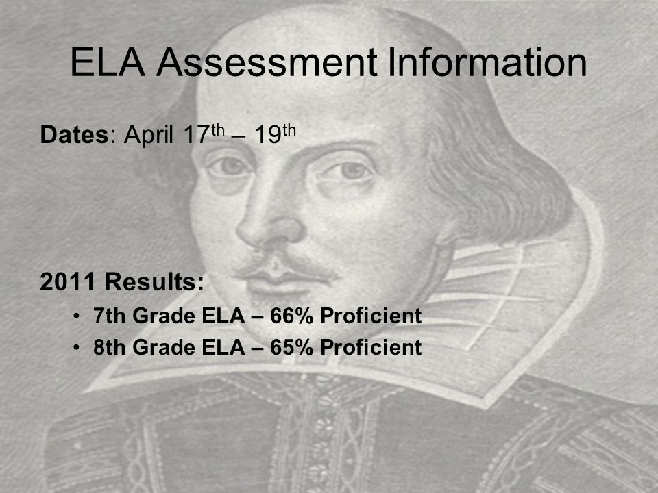 English Language Arts TestGradesBook Test Format Day Administered 7 & 8 1 7 passages (literary and informational) 39 multiple-choice questions 1 2 1 listening selection (literary) 5 multiple-choice questions 3 short-response questions 1 extended-response (essay) listening question 2 reading passages (literary and informational) 13 multiple-choice reading questions 2 3 2 paired passages 1 single passage (literary) 4 short-response questions 1 extended-response question 3