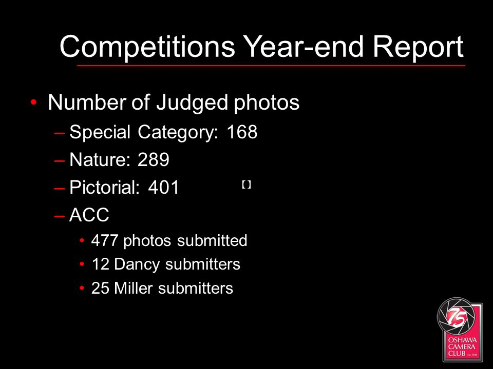 Competitions Year-end Report Number of Judged photos –Special Category: 168 –Nature: 289 –Pictorial: 401 –ACC 477 photos submitted 12 Dancy submitters