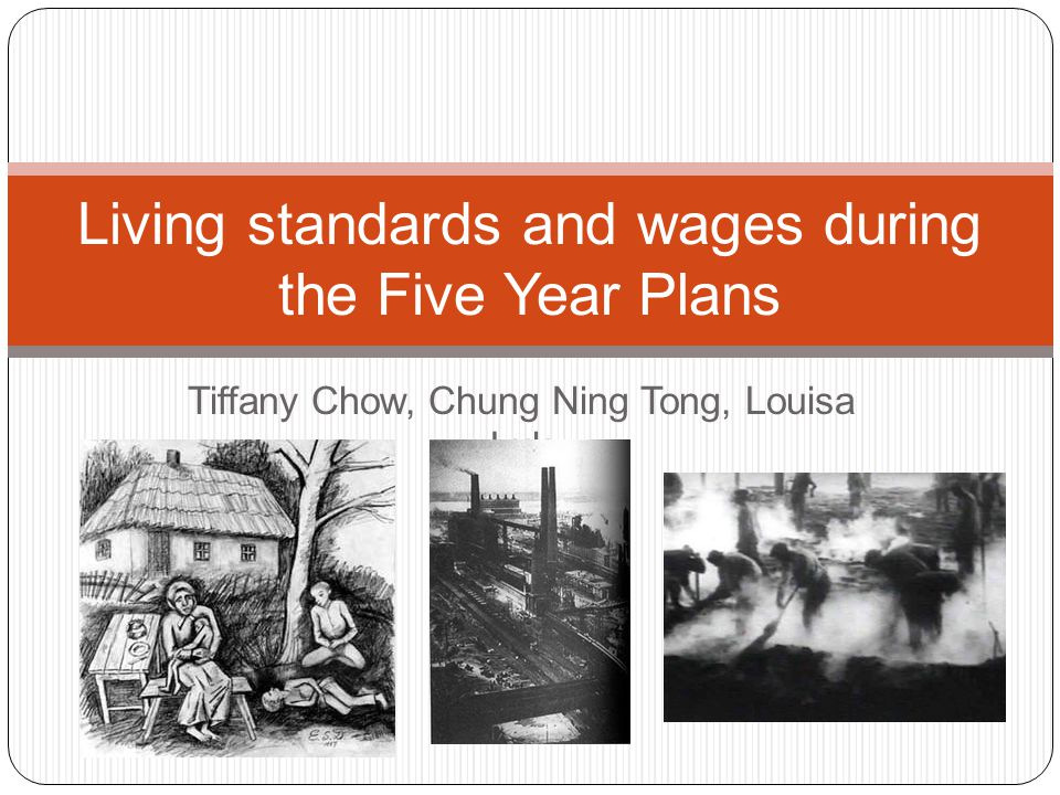 First Five Year Plan Living standards during the First Five year plan didnt improve Over crowing became was a big problem in cities Organisation and materials to build and improve conditions was diverted else where, for example, the building of more factories Rural towns were still very backward Some towns were transformed into industrial sites Town transport was overworked and packed Shops lacked basic commodities There was also food rationing (un co-operation the peasants) Very little control, crime rates were high