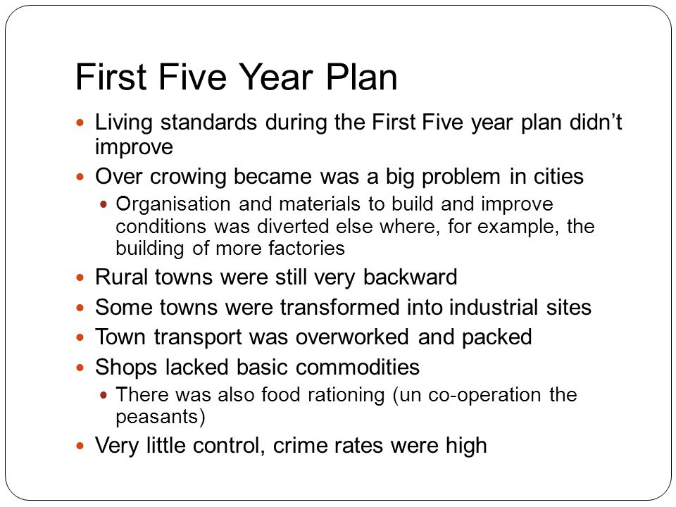 First Five Year Plan strained housing situation into an appalling … chronically overcrowded lodgings… strained family life… courts dealt with an incredible mass of cases… lines outside stores – M.