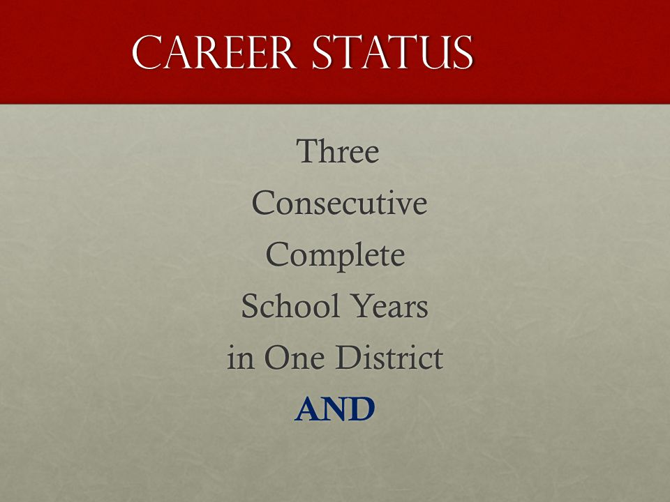 Career Status Career Status Three Three Consecutive ConsecutiveComplete School Years in One District AND