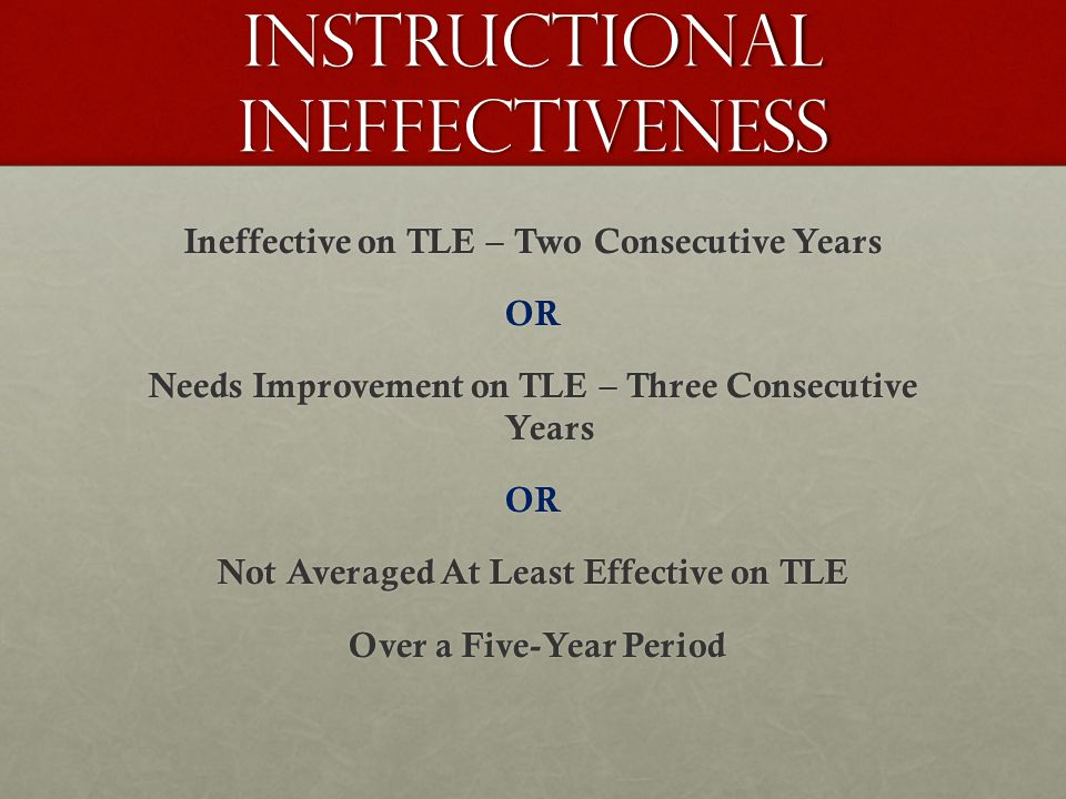 Ineffective on TLE – Two Consecutive Years OR Needs Improvement on TLE – Three Consecutive Years OR Not Averaged At Least Effective on TLE Over a Five-Year Period Over a Five-Year Period