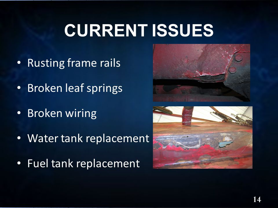 CURRENT ISSUES 14 Rusting frame rails Broken leaf springs Broken wiring Water tank replacement Fuel tank replacement