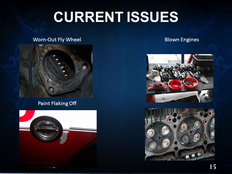 CURRENT ISSUES 15 Worn-Out Fly WheelBlown Engines Paint Flaking Off