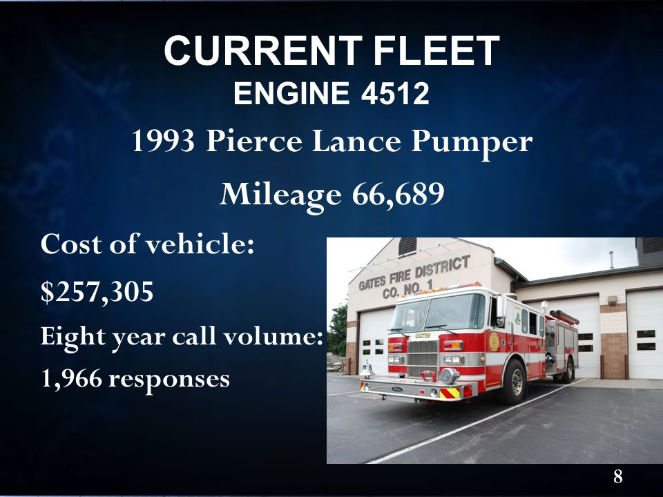 1993 Pierce Lance Pumper Mileage 66,689 Cost of vehicle: $257,305 Eight year call volume: 1,966 responses CURRENT FLEET ENGINE 4512 8