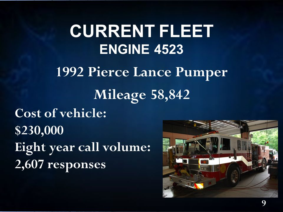 1992 Pierce Lance Pumper Mileage 58,842 CURRENT FLEET ENGINE 4523 9 Cost of vehicle: $230,000 Eight year call volume: 2,607 responses