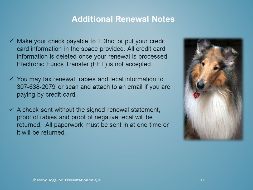 Therapy Dogs Inc.Presentation 2013 ©21 Additional Renewal Notes Make your check payable to TDInc.
