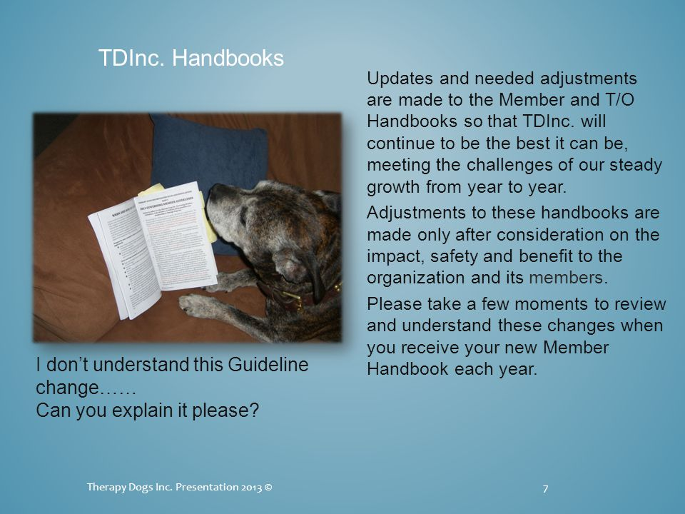 Updates and needed adjustments are made to the Member and T/O Handbooks so that TDInc. will continue to be the best it can be, meeting the challenges
