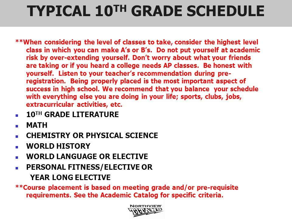 TYPICAL 10 TH GRADE SCHEDULE **When considering the level of classes to take, consider the highest level class in which you can make As or Bs. Do not