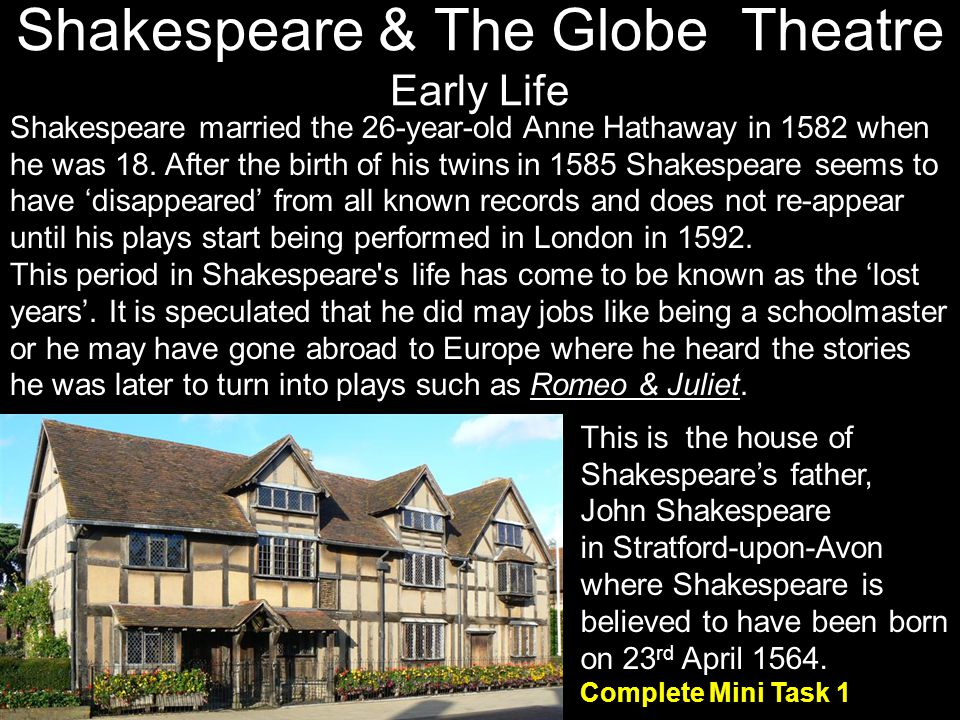 Shakespeare & The Globe Theatre Early Life This is the house of Shakespeares father, John Shakespeare in Stratford-upon-Avon where Shakespeare is beli