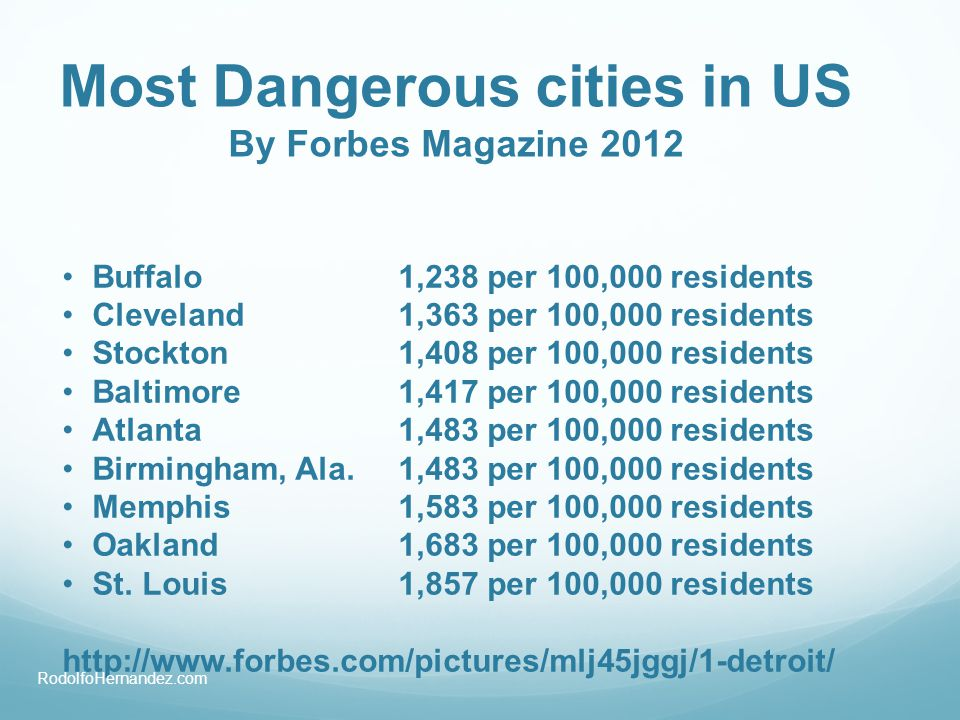 Most Dangerous cities in US By Forbes Magazine 2012 Buffalo1,238 per 100,000 residents Cleveland1,363 per 100,000 residents Stockton1,408 per 100,000