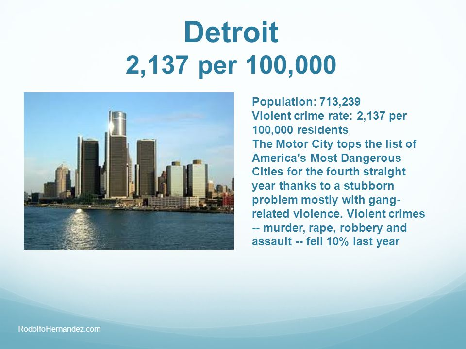 Population: 713,239 Violent crime rate: 2,137 per 100,000 residents The Motor City tops the list of America's Most Dangerous Cities for the fourth str