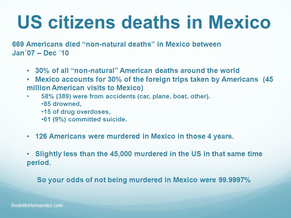 669 Americans died non-natural deaths in Mexico between Jan´07 – Dec ´10 30% of all non-natural American deaths around the world Mexico accounts for 3