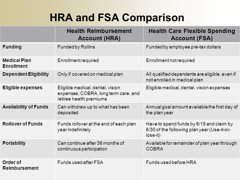 HRA and FSA Comparison Health Reimbursement Account (HRA) Health Care Flexible Spending Account (FSA) FundingFunded by RollinsFunded by employee pre-t