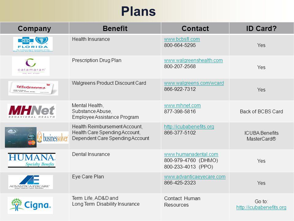 Plans : CompanyBenefitContactID Card? Health Insurancewww.bcbsfl.com 800-664-5295 Yes Prescription Drug Planwww.walgreenshealth.com 800-207-2568 Yes W
