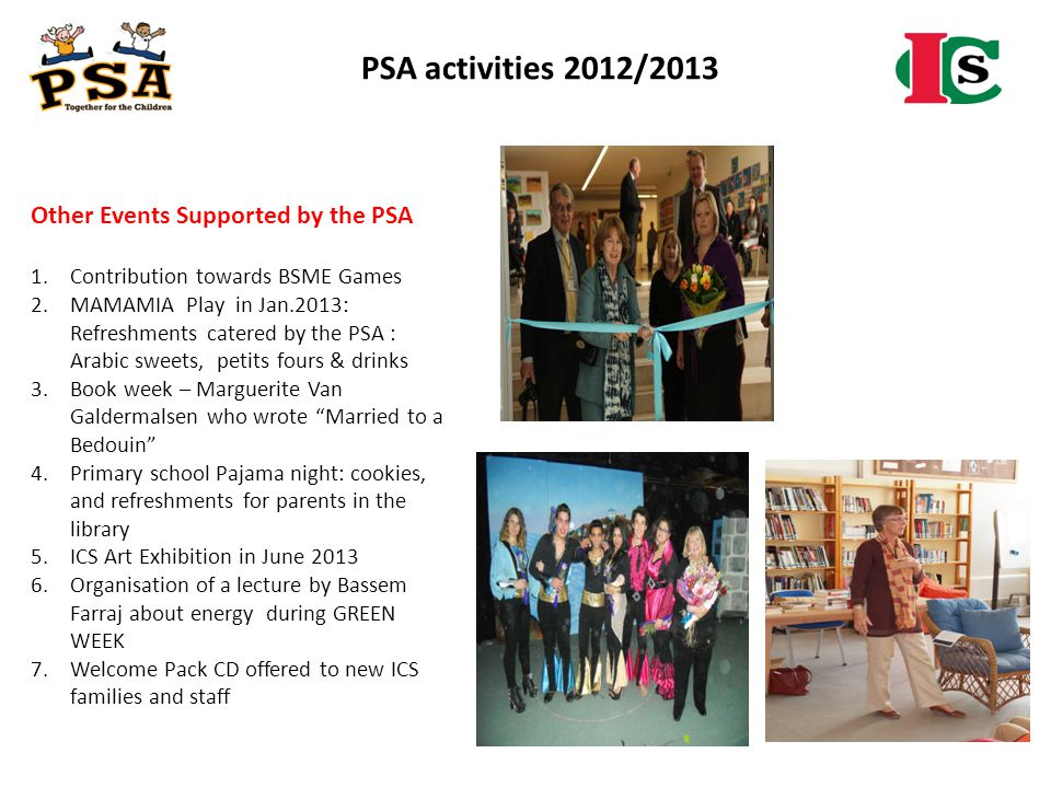 PSA activities 2012/2013 Other Events Supported by the PSA 1.Contribution towards BSME Games 2.MAMAMIA Play in Jan.2013: Refreshments catered by the P