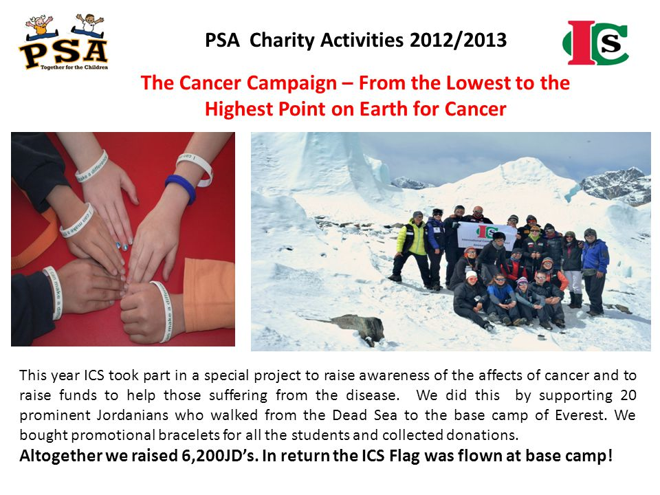 The Cancer Campaign – From the Lowest to the Highest Point on Earth for Cancer This year ICS took part in a special project to raise awareness of the