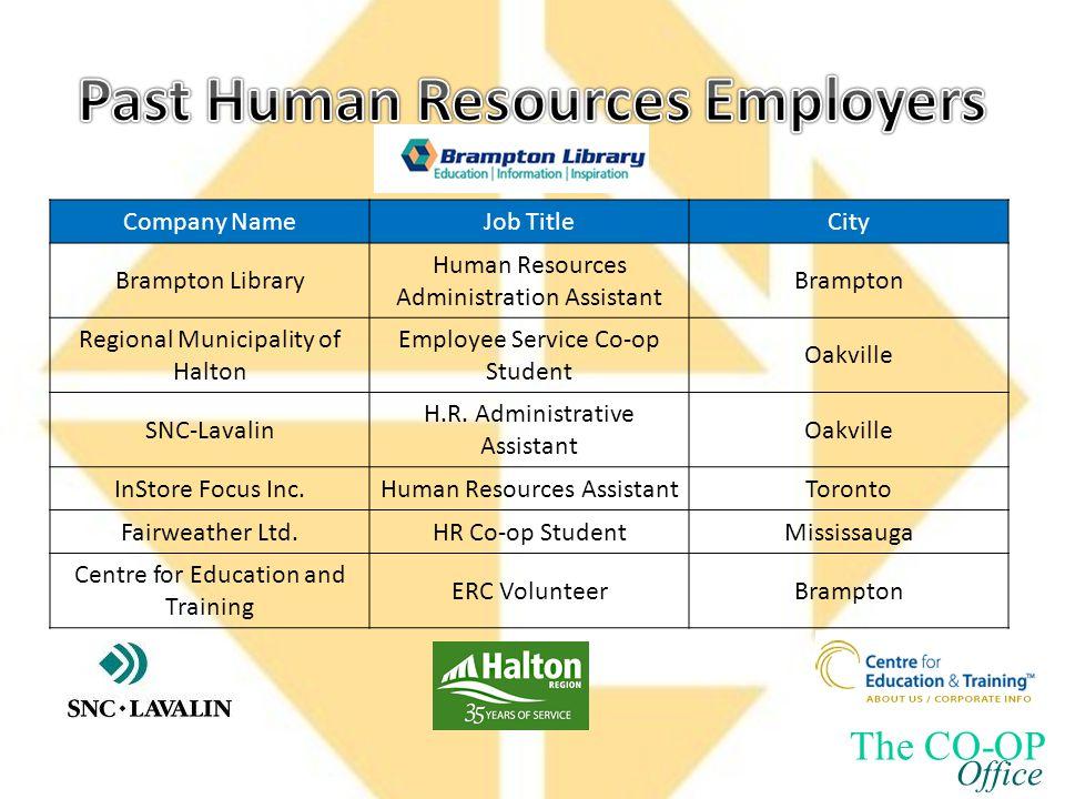 Company NameJob TitleCity Brampton Library Human Resources Administration Assistant Brampton Regional Municipality of Halton Employee Service Co-op Student Oakville SNC-Lavalin H.R.