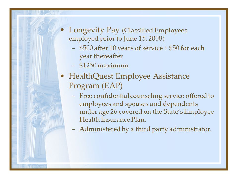 Next lets focus on the miscellaneous benefits employees. Notice that there is no employer contribution to these benefits. Direct Deposit of Paycheck –