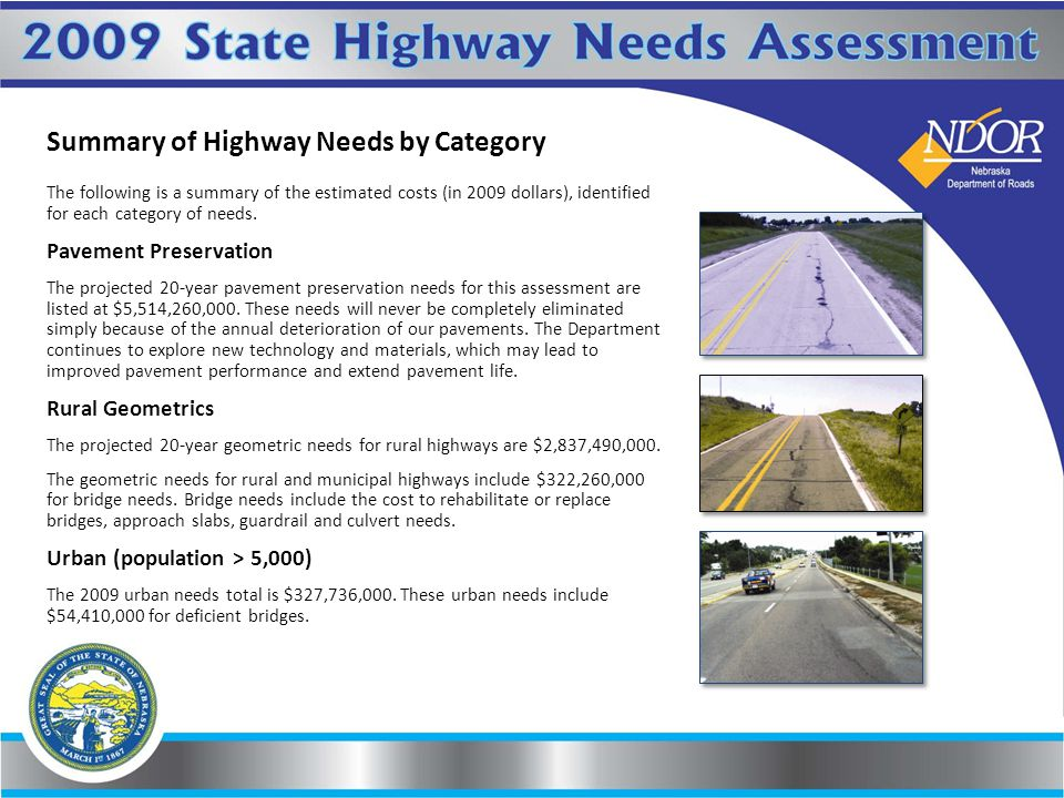 Summary of Highway Needs by Category The following is a summary of the estimated costs (in 2009 dollars), identified for each category of needs.