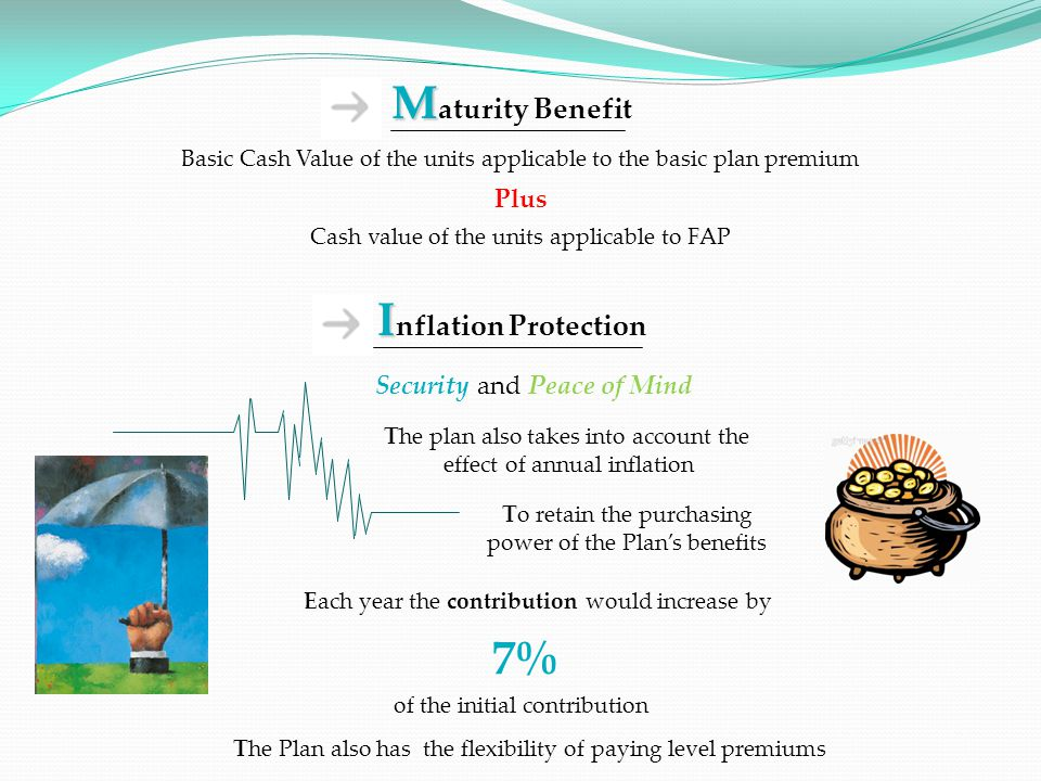 The plan also takes into account the effect of annual inflation To retain the purchasing power of the Plans benefits Each year the contribution would increase by 7% of the initial contribution Security and Peace of Mind M M aturity Benefit Basic Cash Value of the units applicable to the basic plan premium Plus Cash value of the units applicable to FAP I I nflation Protection The Plan also has the flexibility of paying level premiums