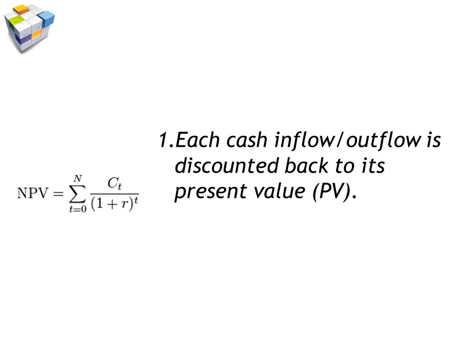 1.Each cash inflow/outflow is discounted back to its present value (PV).