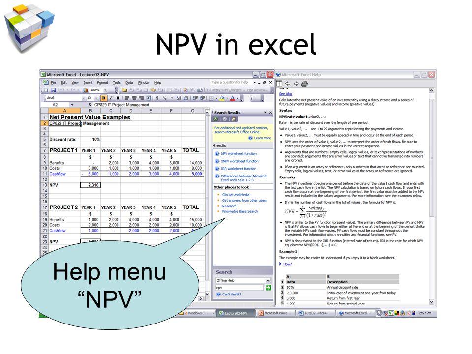 NPV in excel Help menu NPV