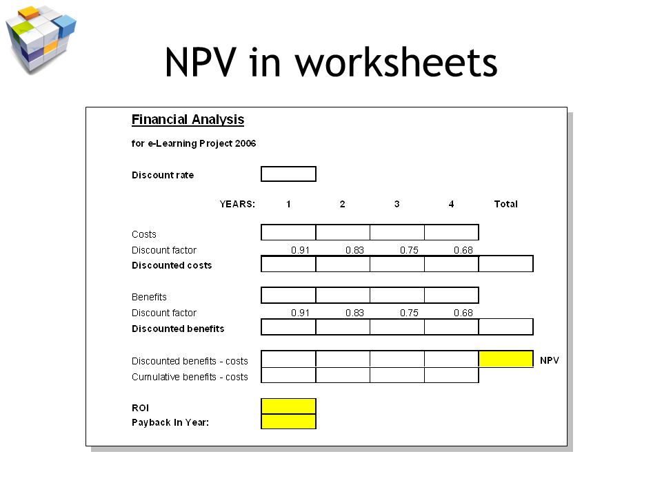 NPV in worksheets