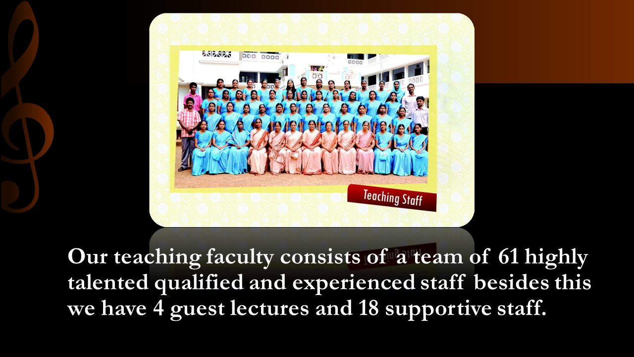 Our teaching faculty consists of a team of 61 highly talented qualified and experienced staff besides this we have 4 guest lectures and 18 supportive