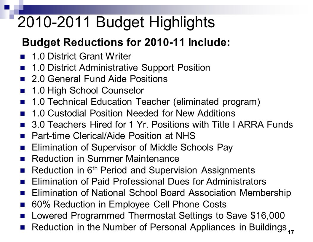 17 2010-2011 Budget Highlights Budget Reductions for 2010-11 Include: 1.0 District Grant Writer 1.0 District Administrative Support Position 2.0 Gener