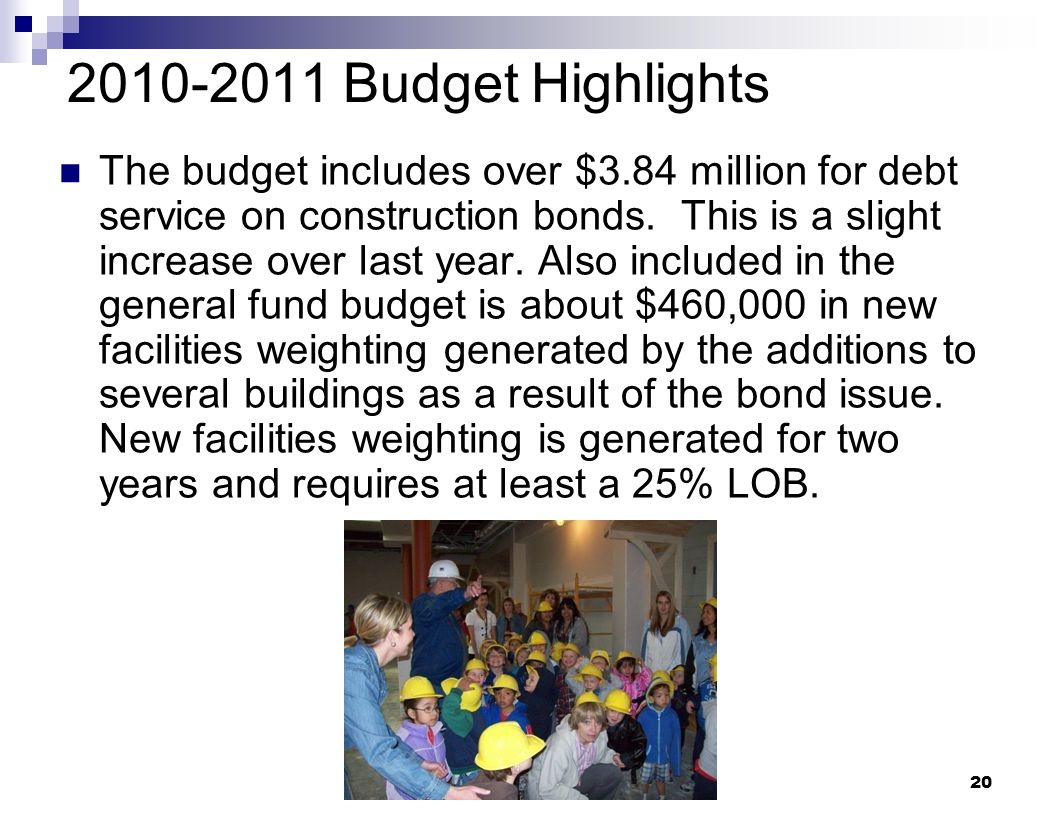 20 2010-2011 Budget Highlights The budget includes over $3.84 million for debt service on construction bonds. This is a slight increase over last year