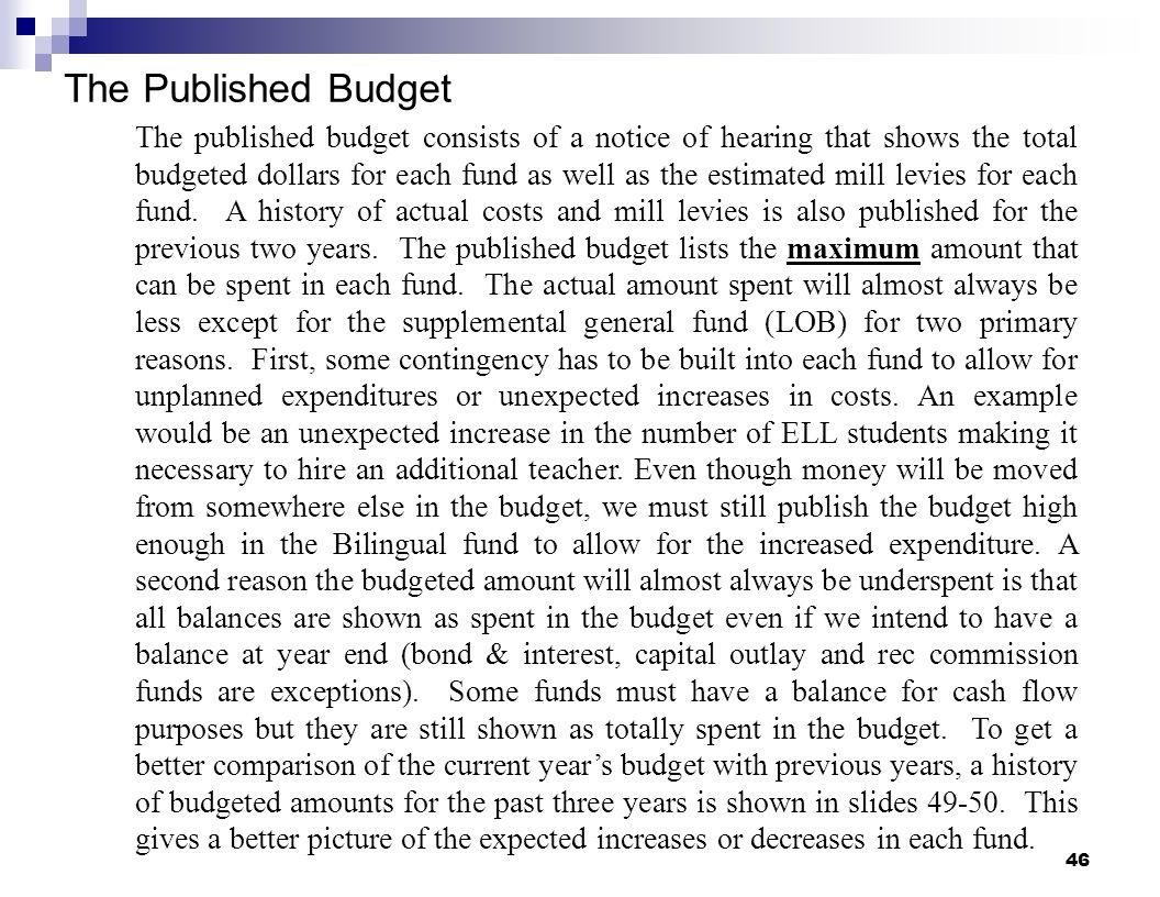 46 The Published Budget The published budget consists of a notice of hearing that shows the total budgeted dollars for each fund as well as the estima
