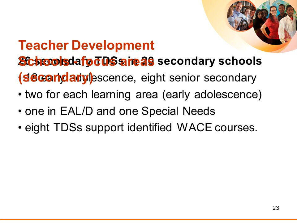 23 26 secondary TDSs in 20 secondary schools 18 early adolescence, eight senior secondary two for each learning area (early adolescence) one in EAL/D and one Special Needs eight TDSs support identified WACE courses.