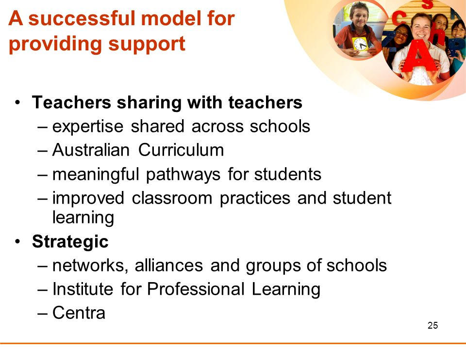 25 A successful model for providing support Teachers sharing with teachers –expertise shared across schools –Australian Curriculum –meaningful pathways for students –improved classroom practices and student learning Strategic –networks, alliances and groups of schools –Institute for Professional Learning –Centra