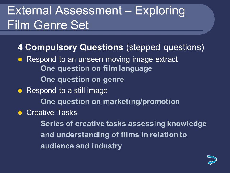 External Assessment – Exploring Film Genre Set 4 Compulsory Questions (stepped questions) Respond to an unseen moving image extract One question on film language One question on genre Respond to a still image One question on marketing/promotion Creative Tasks Series of creative tasks assessing knowledge and understanding of films in relation to audience and industry