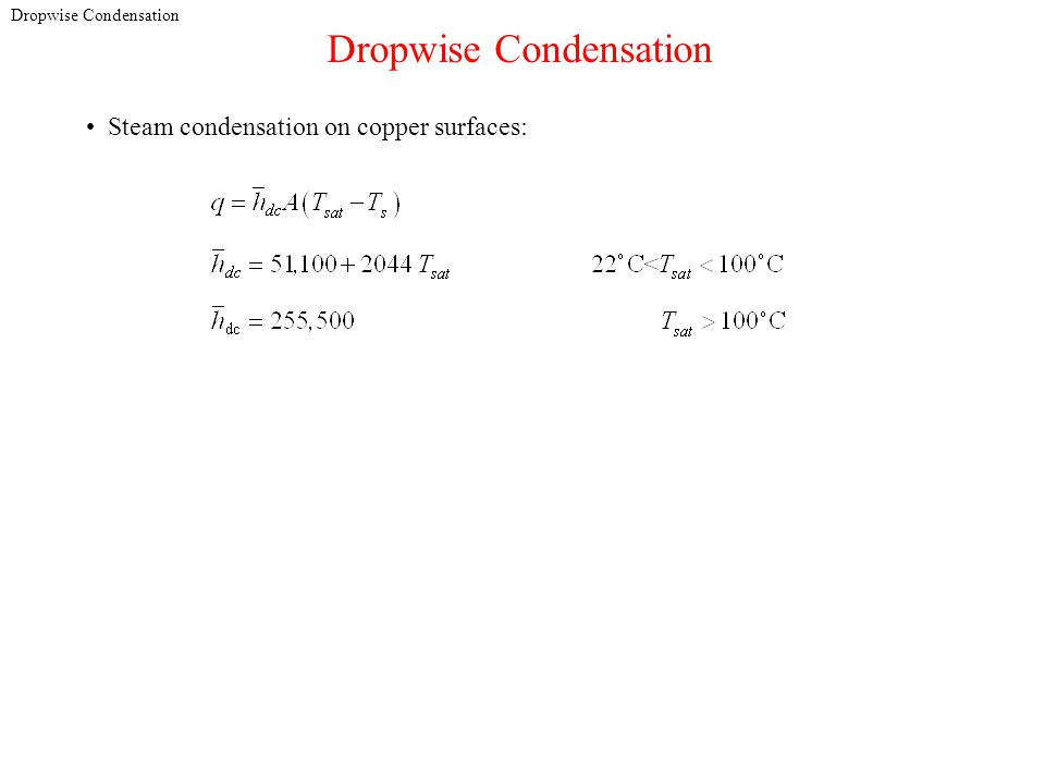 Dropwise Condensation Steam condensation on copper surfaces: