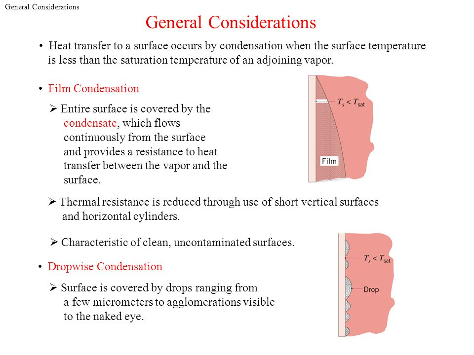 General Considerations Heat transfer to a surface occurs by condensation when the surface temperature is less than the saturation temperature of an ad