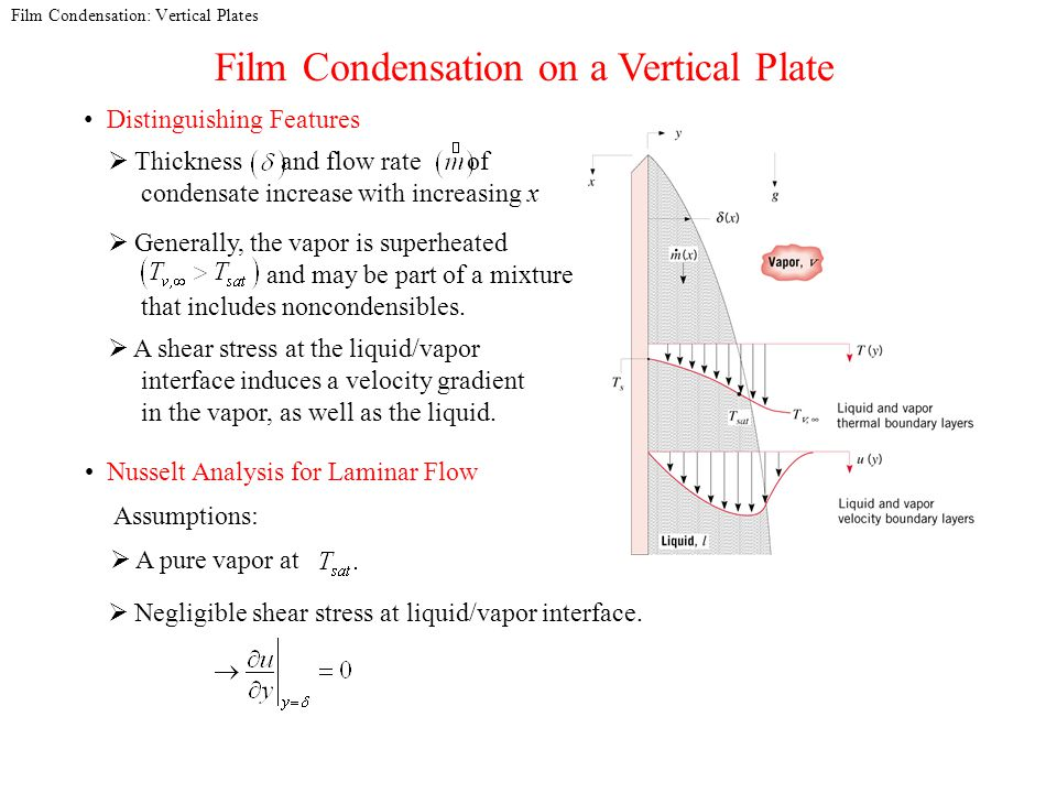 Film Condensation: Vertical Plates Film Condensation on a Vertical Plate Distinguishing Features Generally, the vapor is superheated and may be part of a mixture that includes noncondensibles.