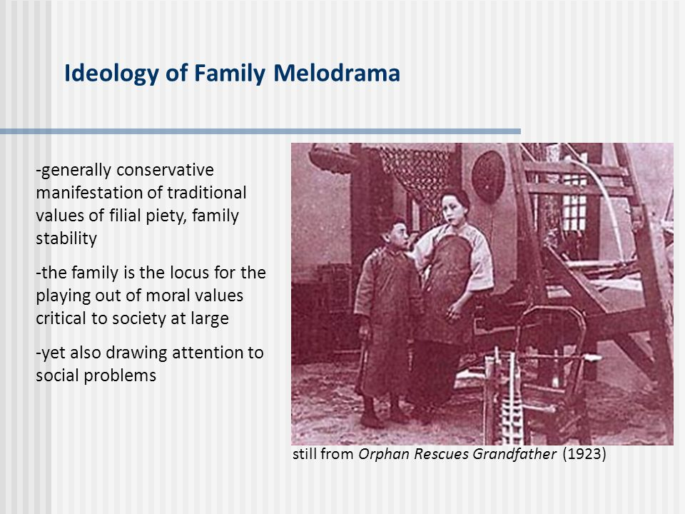 Ideology of Family Melodrama -generally conservative manifestation of traditional values of filial piety, family stability -the family is the locus fo