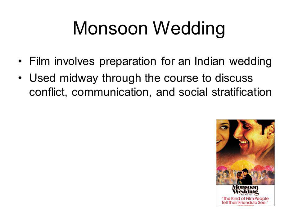 Monsoon Wedding Film involves preparation for an Indian wedding Used midway through the course to discuss conflict, communication, and social stratification