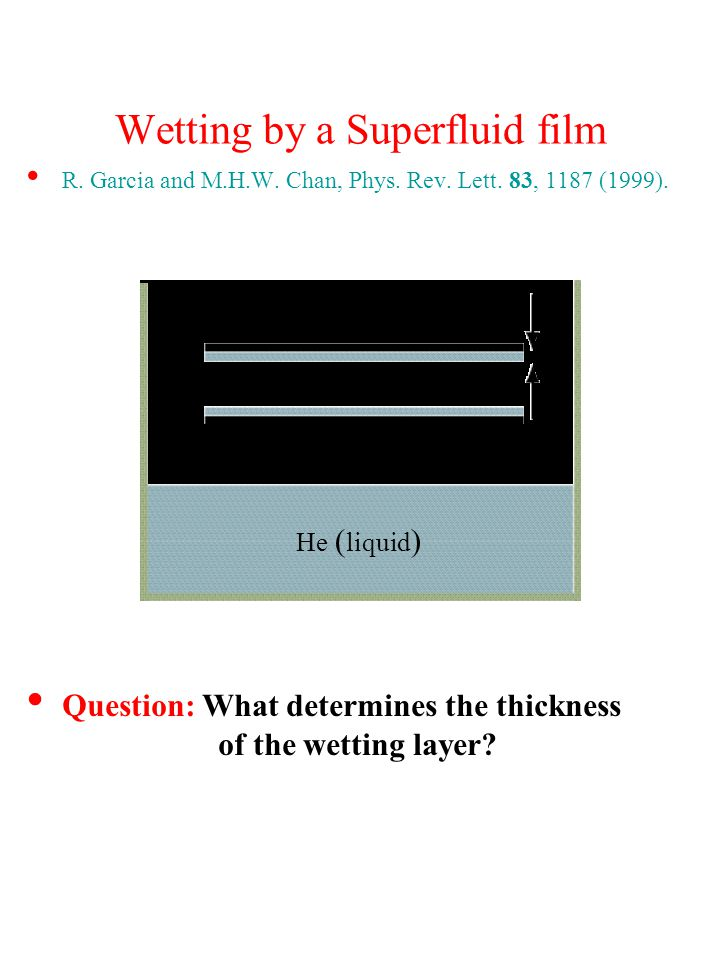 Wetting by a Superfluid film R. Garcia and M.H.W.