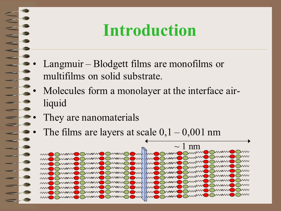 Introduction Langmuir – Blodgett films are monofilms or multifilms on solid substrate. Molecules form a monolayer at the interface air- liquid They ar