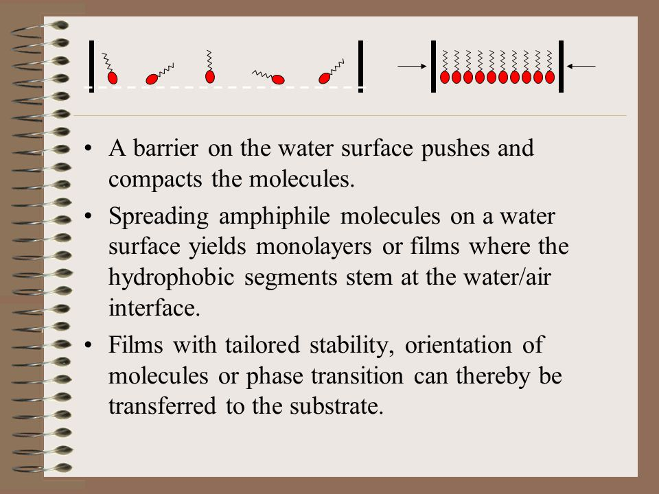 A barrier on the water surface pushes and compacts the molecules. Spreading amphiphile molecules on a water surface yields monolayers or films where t
