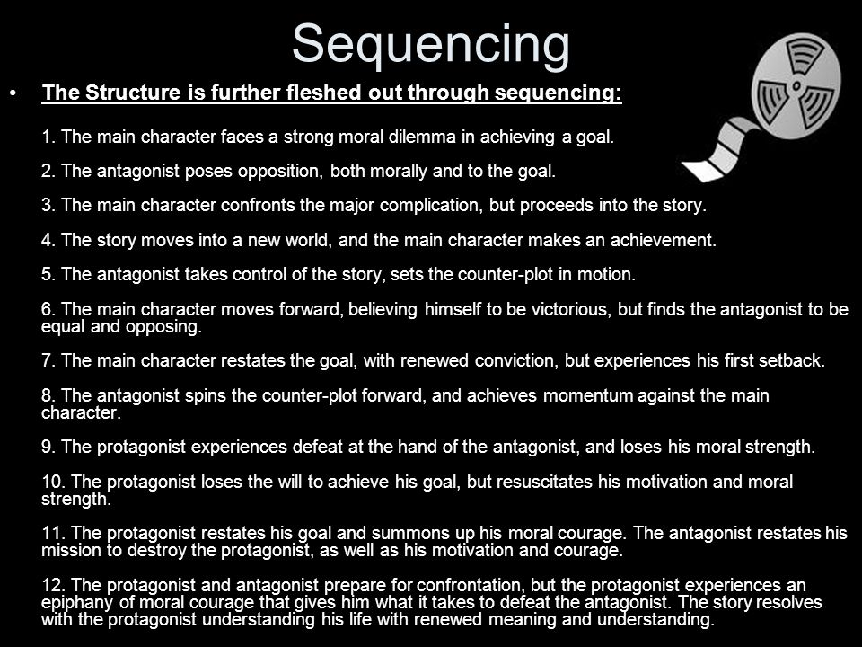 Sequencing The Structure is further fleshed out through sequencing: 1.
