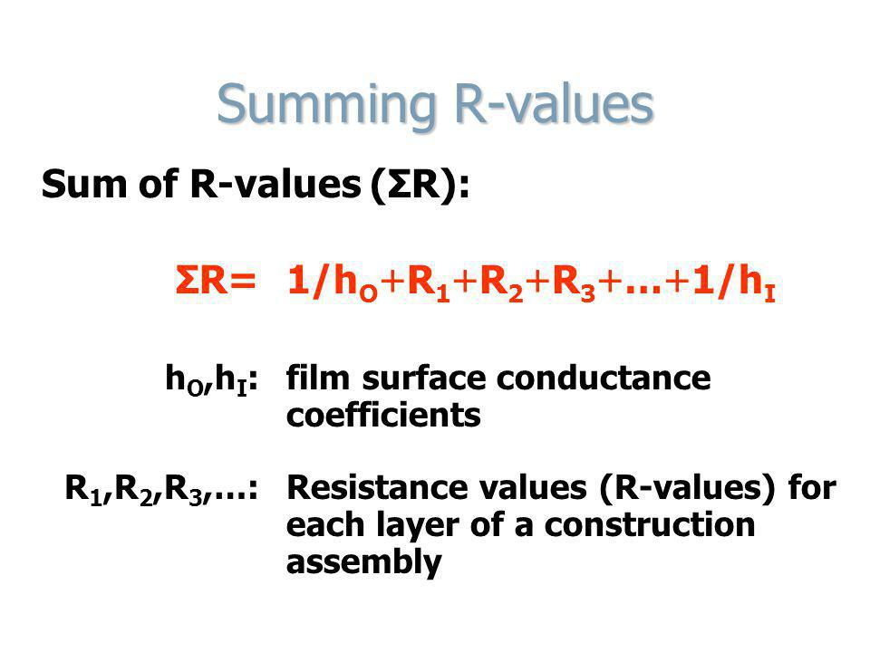 Summing R-values Sum of R-values (ΣR): ΣR= 1/h O +R 1 +R 2 +R 3 +…+1/h I h O,h I : film surface conductance coefficients R 1,R 2,R 3,…:Resistance valu