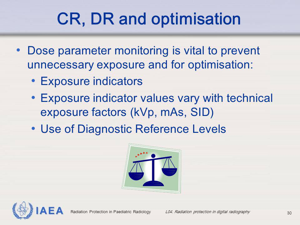 IAEA Radiation Protection in Paediatric Radiology L04. Radiation protection in digital radiography 30 CR, DR and optimisation Dose parameter monitorin