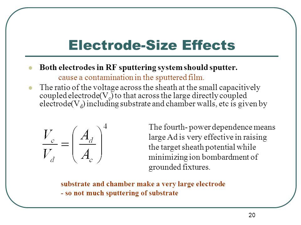 20 Electrode-Size Effects Both electrodes in RF sputtering system should sputter.