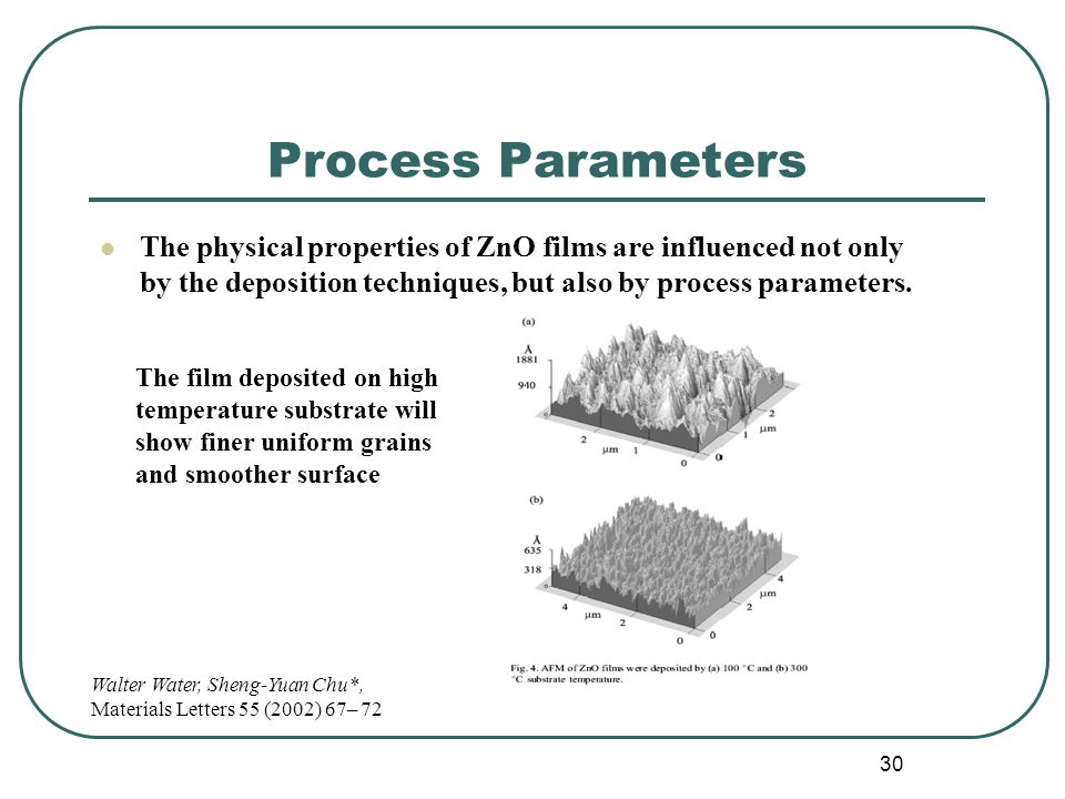 30 Process Parameters The physical properties of ZnO films are influenced not only by the deposition techniques, but also by process parameters.