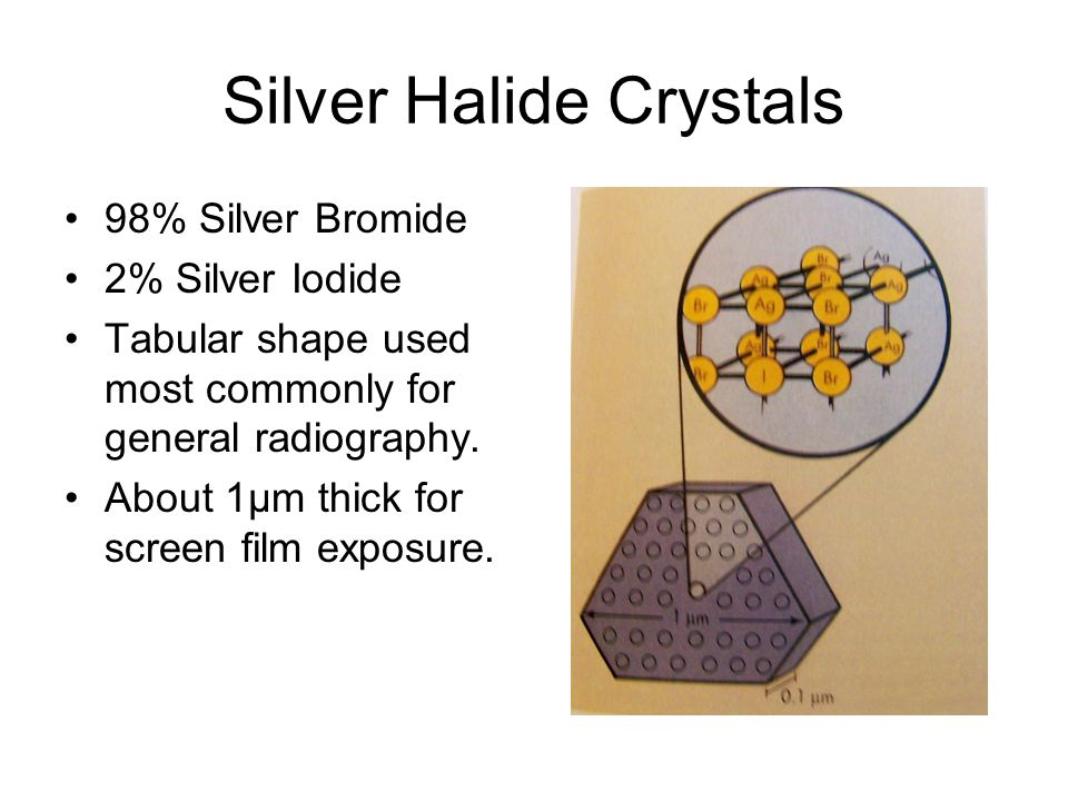 Silver Halide Crystals 98% Silver Bromide 2% Silver Iodide Tabular shape used most commonly for general radiography. About 1µm thick for screen film e