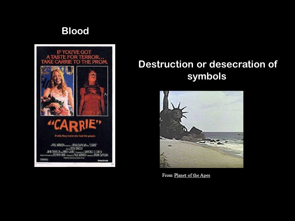 Blood Destruction or desecration of symbols From Planet of the Apes